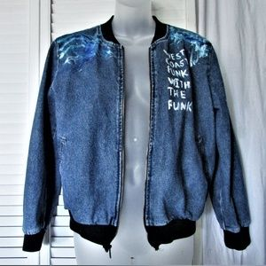 American Apparel med wash denim bomber jacket L